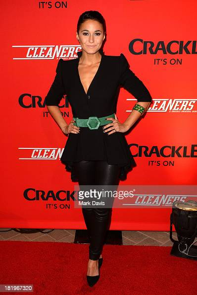 Actress Emmanuelle Chriqui attends the premiere of Crackle's new original digital series 'Cleaners' held at the Cary Grant Theater on September 26...