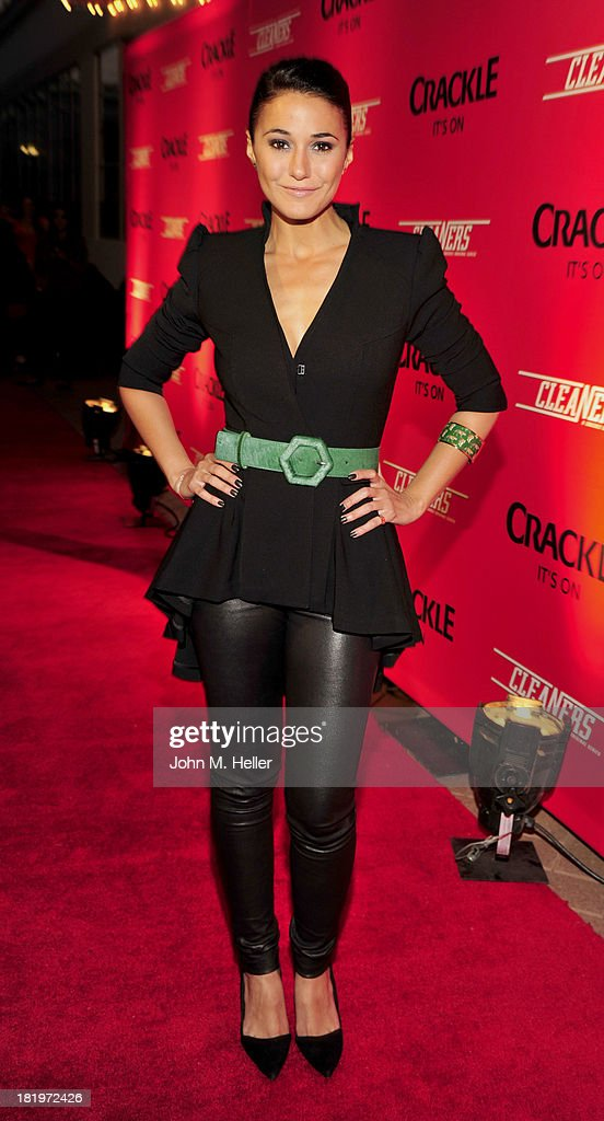 Actress <a gi-track='captionPersonalityLinkClicked' href=/galleries/search?phrase=Emmanuelle+Chriqui&family=editorial&specificpeople=541098 ng-click='$event.stopPropagation()'>Emmanuelle Chriqui</a> attends the premiere of Crackle's new original digital series 'Cleaners' at the Cary Grant Theater on the Sony Pictures Studio lot on September 26, 2013 in Culver City, California.