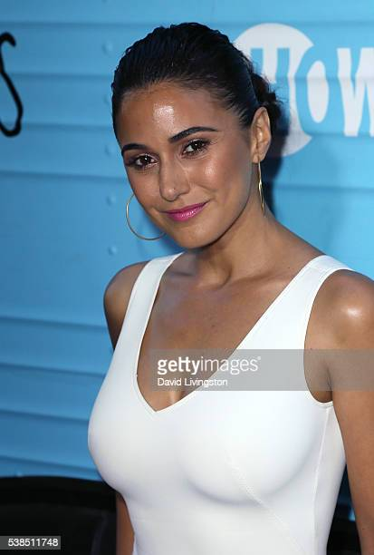 Actress Emmanuelle Chriqui attends the premiere of Showtime's 'Roadies' at The Theatre at Ace Hotel on June 6 2016 in Los Angeles California