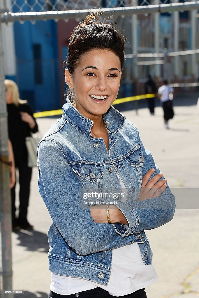 Actress Emmanuelle Chriqui celebrates Earth Day with the Environmental Media Association at Cochran Middle School on April 18, 2013 in Los Angeles, California.