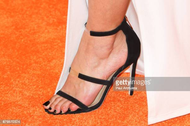 Actress Emmanuelle Chriqui Shoe Detail attends the 24th annual Race To Erase MS Gala at The Beverly Hilton Hotel on May 5 2017 in Beverly Hills...
