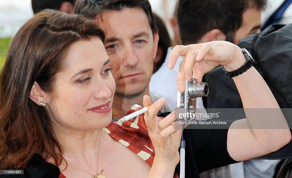 Actress Emmanuelle Devos attends the Un Conte de Noel photocall at the Palais des Festivals during the 61st Cannes International Film Festival on May...