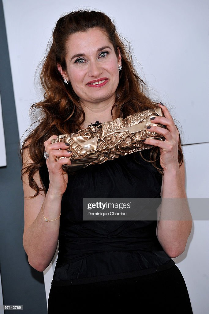 Actress Emmanuelle Devos poses in Awards Room during 35th Cesar Film Awards at Theatre du Chatelet on February 27 2010 in Paris France