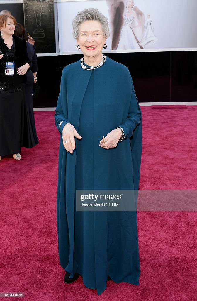 Actress Emmanuelle Riva arrives at the Oscars at Hollywood & Highland Center on February 24, 2013 in Hollywood, California.