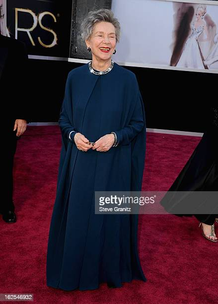 Actress Emmanuelle Riva arrives at the Oscars at Hollywood Highland Center on February 24 2013 in Hollywood California