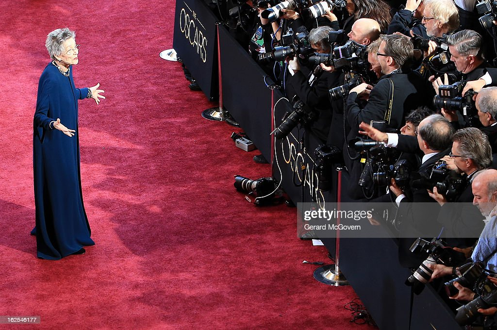 Actress <a gi-track='captionPersonalityLinkClicked' href=/galleries/search?phrase=Emmanuelle+Riva&family=editorial&specificpeople=2029319 ng-click='$event.stopPropagation()'>Emmanuelle Riva</a> arrives at the Oscars held at Hollywood & Highland Center on February 24, 2013 in Hollywood, California.