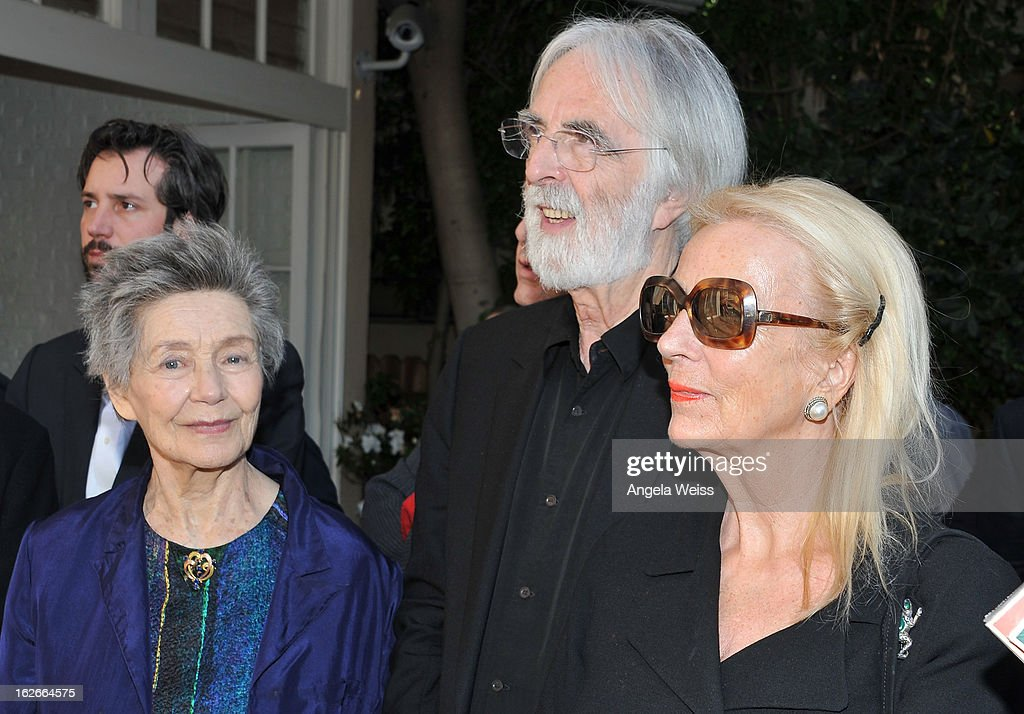 Actress <a gi-track='captionPersonalityLinkClicked' href=/galleries/search?phrase=Emmanuelle+Riva&family=editorial&specificpeople=2029319 ng-click='$event.stopPropagation()'>Emmanuelle Riva</a>, director <a gi-track='captionPersonalityLinkClicked' href=/galleries/search?phrase=Michael+Haneke&family=editorial&specificpeople=233739 ng-click='$event.stopPropagation()'>Michael Haneke</a> and his wife Susan Haneke attend an event hosted by the Consul General Of France, Mr. Axel Cruau, honoring the French nominees for the 85th Annual Academy Awards at French Consulate's Home on February 25, 2013 in Beverly Hills, California.