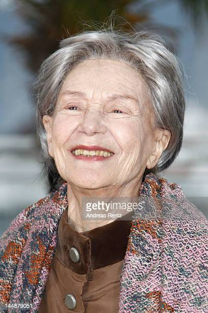Actress Emmanuelle Riva poses at the 'Amour' Photocall during the 65th Annual Cannes Film Festival at Palais des Festivals on May 20 2012 in Cannes...