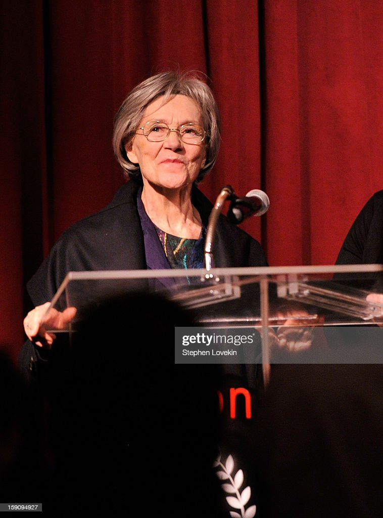 Actress Emmanuelle Riva speaks onstage at the 2012 New York Film Critics Circle Awards at Crimson on January 7, 2013 in New York City.