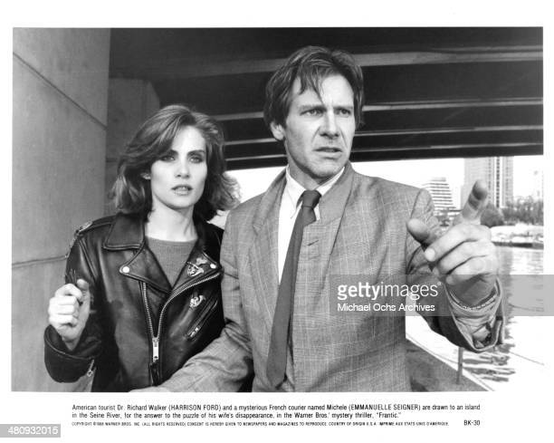 Actress Emmanuelle Seigner and actor Harrison Ford in a scene from the Warner Bros movie ' Frantic' circa 1988
