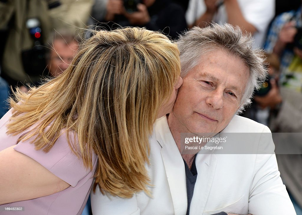 Actress <a gi-track='captionPersonalityLinkClicked' href=/galleries/search?phrase=Emmanuelle+Seigner&family=editorial&specificpeople=240590 ng-click='$event.stopPropagation()'>Emmanuelle Seigner</a> and Director Roman Polanski attend the 'La Venus A La Fourrure' Photocall during the 66th Annual Cannes Film Festival on May 25, 2013 in Cannes, France.