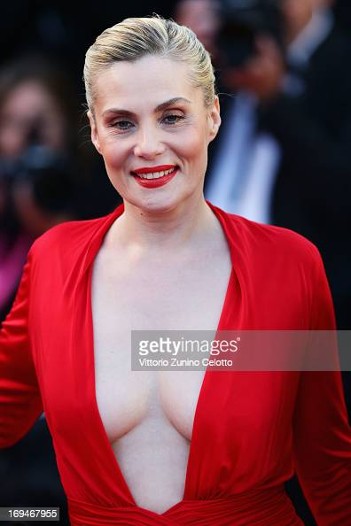 Actress Emmanuelle Seigner attends the 'La Venus A La Fourrure' premiere during The 66th Annual Cannes Film Festival at Theatre Lumiere on May 25...