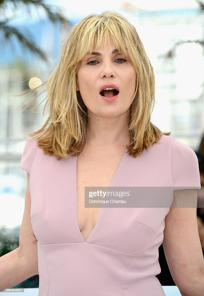 Actress Emmanuelle Seigner attends the photocall for 'La Venus A La Fourrure' at The 66th Annual Cannes Film Festival at the Palais des Festivals on May 25, 2013 in Cannes, France.