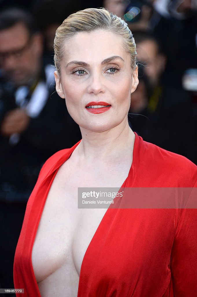Actress Emmanuelle Seigner attends the Premiere of 'La Venus A La Fourrure' during the 66th Annual Cannes Film Festival at the Palais des Festivals on May 25, 2013 in Cannes, France.