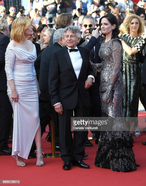 Actress Emmanuelle Seigner Director Roman Polanski actress Eva Green and Delphine de Vigan attend the 'Based On A True Story' screening during the...