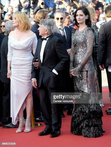 Actress Emmanuelle Seigner Director Roman Polanski and actress Eva Green attend the 'Based On A True Story' screening during the 70th annual Cannes...