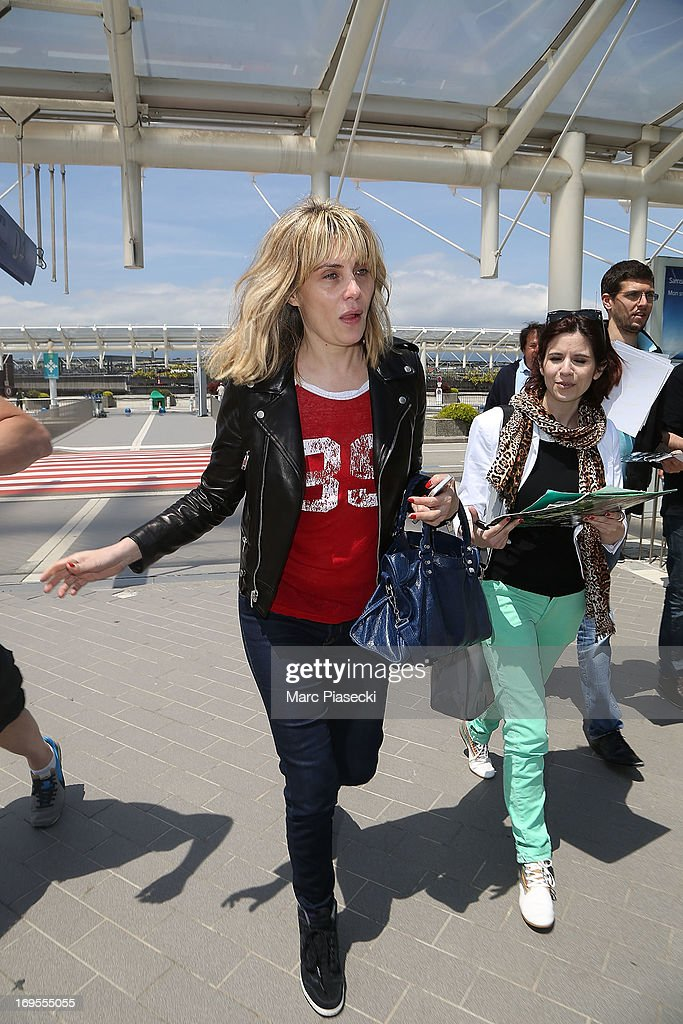 Actress Emmanuelle Seigner is sighted at Nice airport after the 66th Annual Cannes Film Festival on May 27, 2013 in Nice, France.