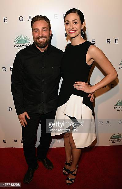 Actress Emmy Rossum and Brian Bowen Smith attend the Brian Bowen Smith WILDLIFE show hosted by Casamigos Tequila at De Re Gallery on October 23 2014...