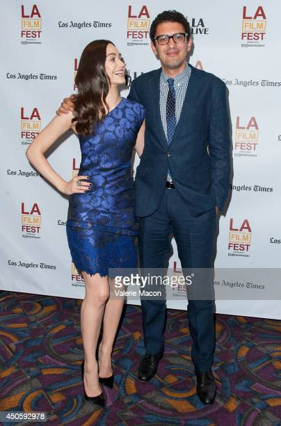 Actress Emmy Rossum and director/writer Sam Esmail attend the 2014 Los Angeles Film Festival Screening Of 'Comet' at Regal Cinemas LA Live on June 13...