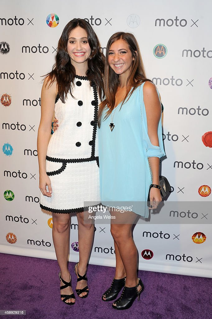 Actress Emmy Rossum and filmmaker Gabbie Hanna celebrate mobile filmmaking at the Moto X Film Experience Premiere at Palihouse on November 13 2014 in...