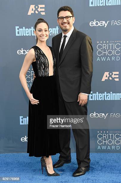 Actress Emmy Rossum and writer Sam Esmail attend The 22nd Annual Critics' Choice Awards at Barker Hangar on December 11 2016 in Santa Monica...