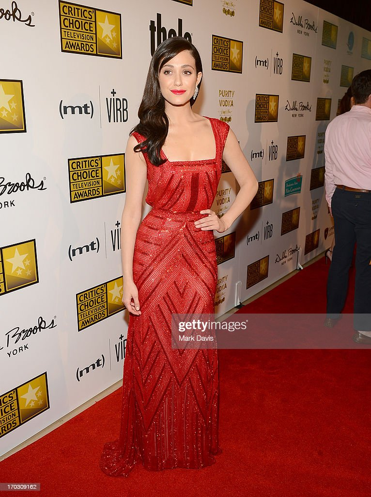 Actress <a gi-track='captionPersonalityLinkClicked' href=/galleries/search?phrase=Emmy+Rossum&family=editorial&specificpeople=202563 ng-click='$event.stopPropagation()'>Emmy Rossum</a> arrives at Broadcast Television Journalists Association's third annual Critics' Choice Television Awards at The Beverly Hilton Hotel on June 10, 2013 in Los Angeles, California.