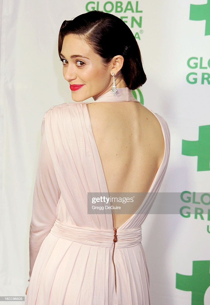 Actress Emmy Rossum arrives at Global Green USA's 10th Annual Pre-Oscar party at Avalon on February 20, 2013 in Hollywood, California.