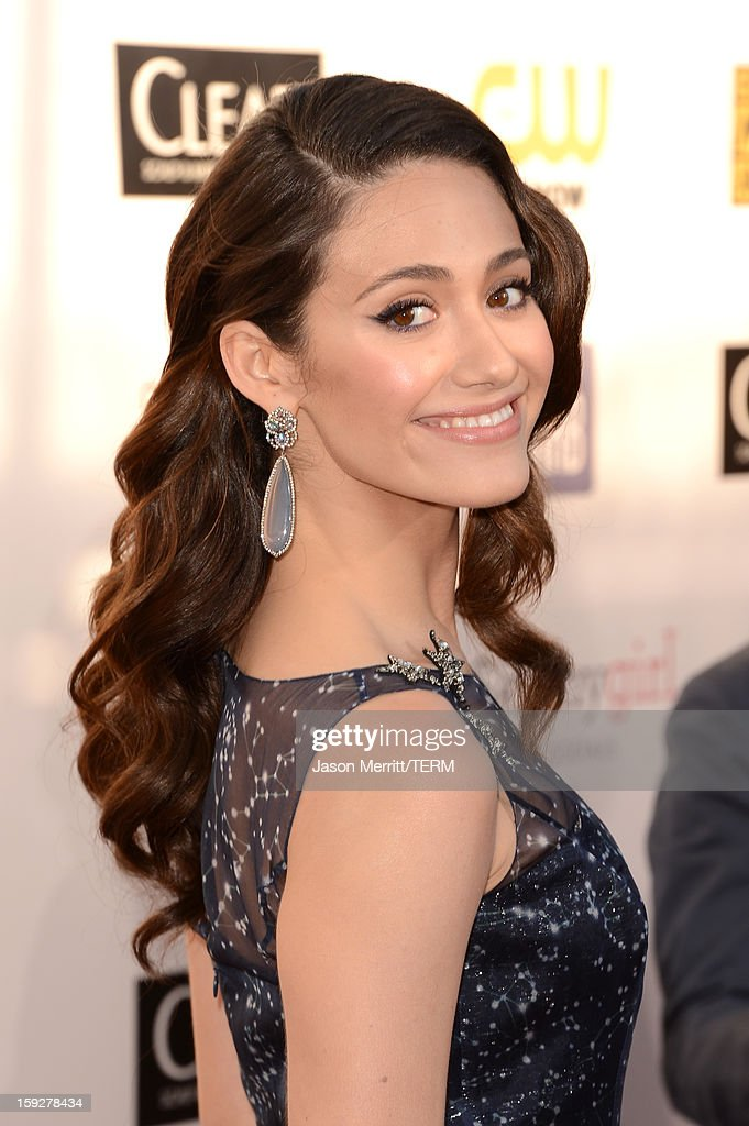 Actress Emmy Rossum arrives at the 18th Annual Critics' Choice Movie Awards held at Barker Hangar on January 10, 2013 in Santa Monica, California.