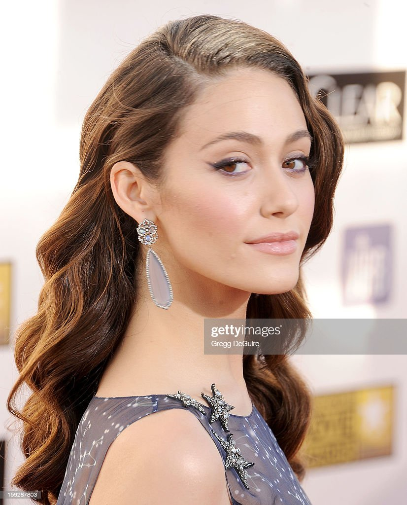 Actress Emmy Rossum arrives at the 18th Annual Critics' Choice Movie Awards at The Barker Hangar on January 10, 2013 in Santa Monica, California.