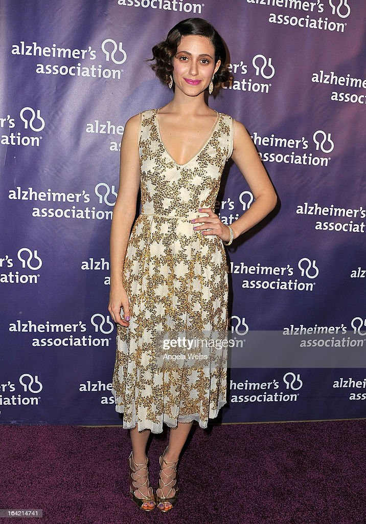 Actress <a gi-track='captionPersonalityLinkClicked' href=/galleries/search?phrase=Emmy+Rossum&family=editorial&specificpeople=202563 ng-click='$event.stopPropagation()'>Emmy Rossum</a> arrives at the 21st Annual 'A Night At Sardi's' to benefit the Alzheimer's Association at The Beverly Hilton Hotel on March 20, 2013 in Beverly Hills, California.