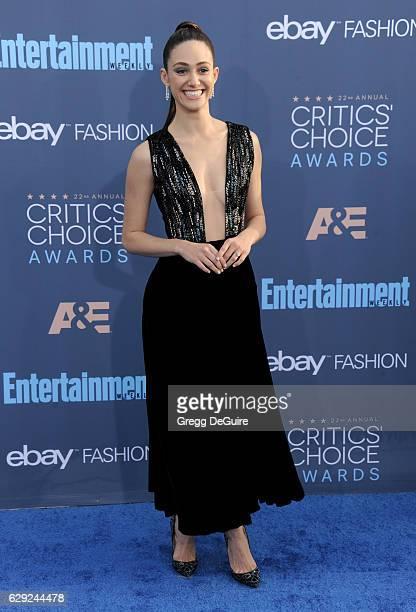Actress Emmy Rossum arrives at The 22nd Annual Critics' Choice Awards at Barker Hangar on December 11 2016 in Santa Monica California