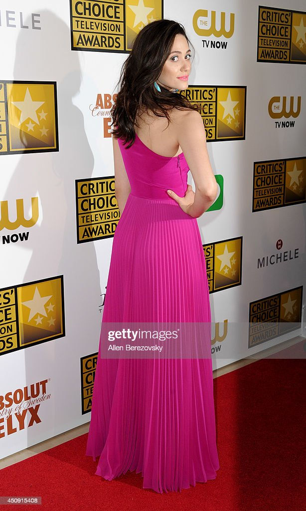 Actress <a gi-track='captionPersonalityLinkClicked' href=/galleries/search?phrase=Emmy+Rossum&family=editorial&specificpeople=202563 ng-click='$event.stopPropagation()'>Emmy Rossum</a> arrives at the 4th Annual Critics' Choice Television Awards at The Beverly Hilton Hotel on June 19, 2014 in Beverly Hills, California.