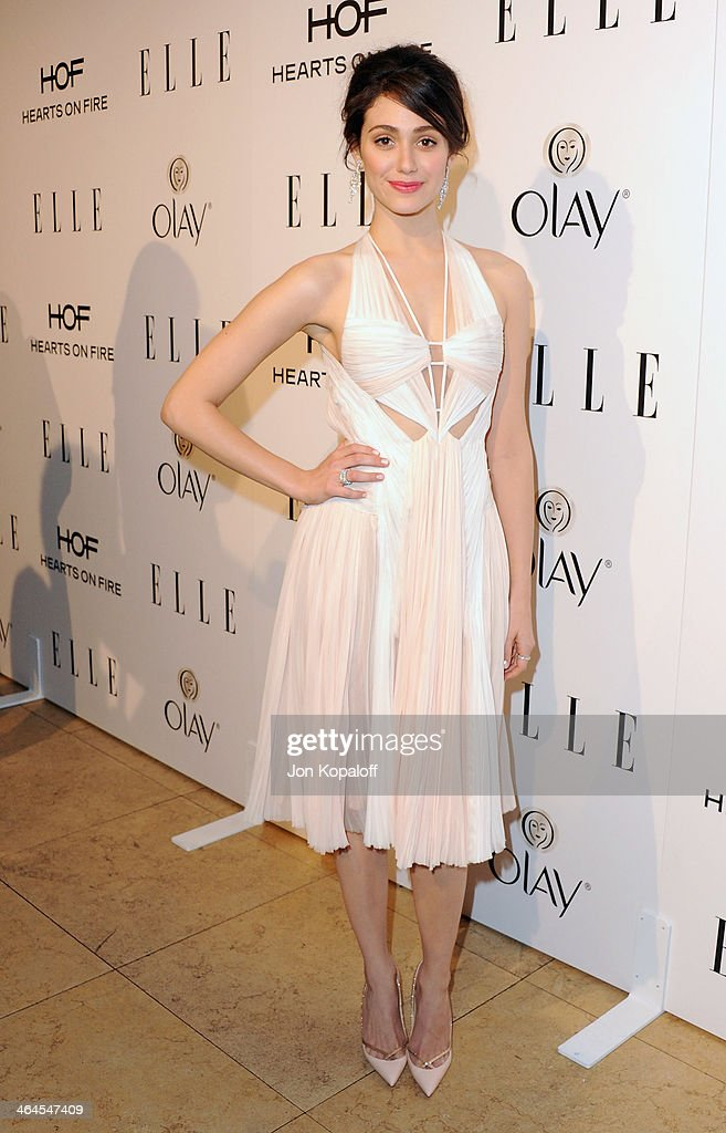 Actress Emmy Rossum arrives at the ELLE Women In Television Celebration at Sunset Tower on January 22, 2014 in West Hollywood, California.
