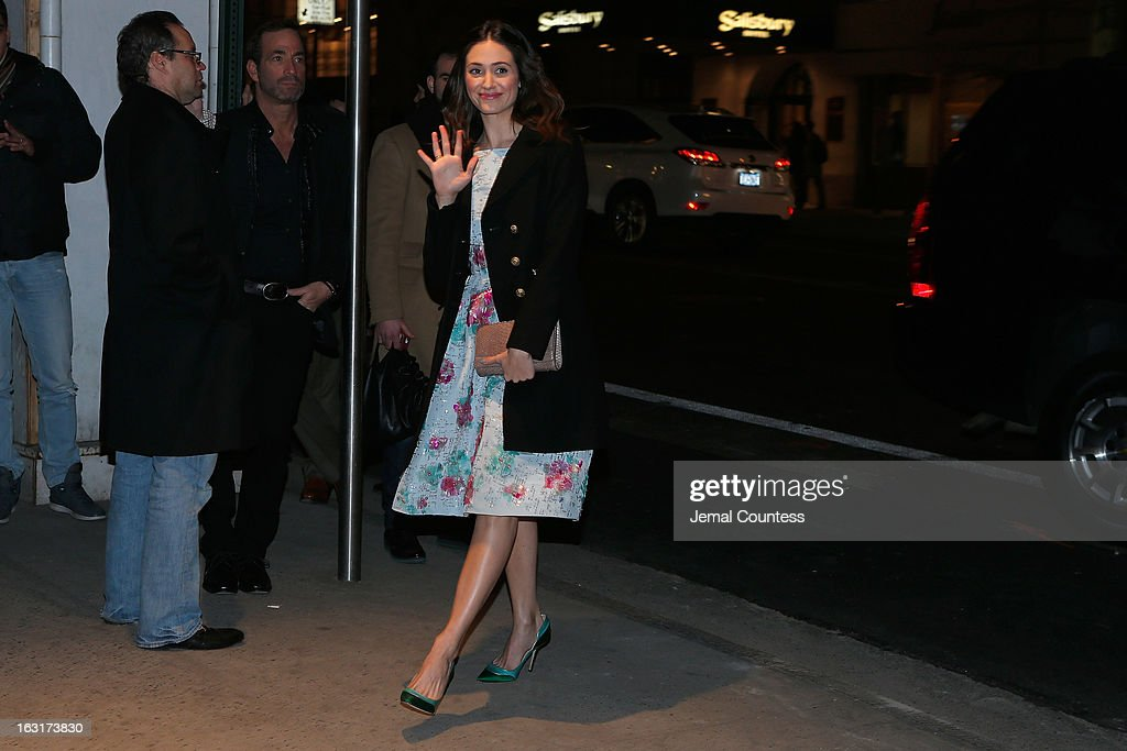Actress Emmy Rossum arrives at the Gucci and The Cinema Society screening of 'Oz the Great and Powerful' at the DGA Theater on March 5, 2013 in New York City.