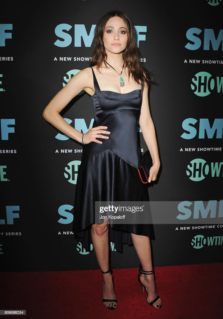 Actress Emmy Rossum arrives at the Los Angeles Premiere 'SMILF' at Harmony Gold Theater on October 9, 2017 in Los Angeles, California.