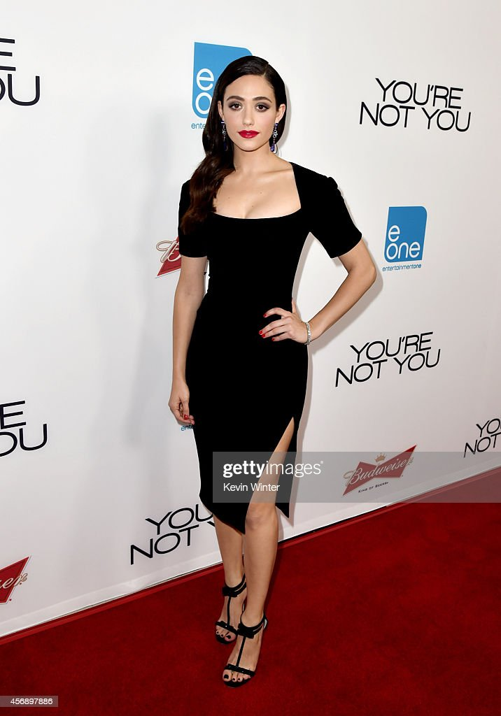 Actress Emmy Rossum arrives at the premiere of eOne Films' 'You're Not You' at the Vanguard Theatre on October 8 2014 in Los Angeles California
