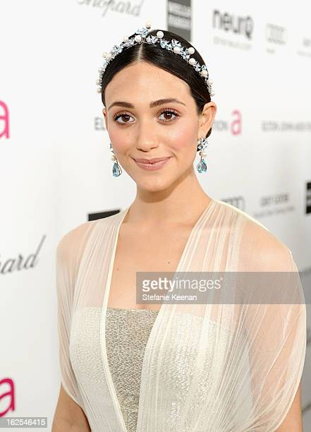 Actress Emmy Rossum attends Chopard at 21st Annual Elton John AIDS Foundation Academy Awards Viewing Party at West Hollywood Park on February 24 2013...