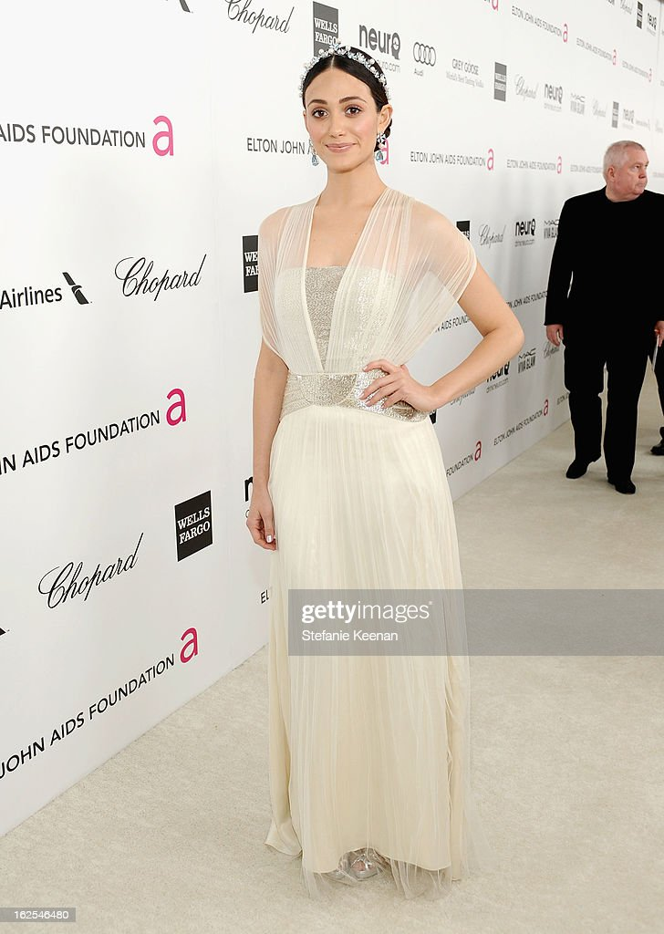 Actress Emmy Rossum attends Chopard at 21st Annual Elton John AIDS Foundation Academy Awards Viewing Party at West Hollywood Park on February 24, 2013 in West Hollywood, California.