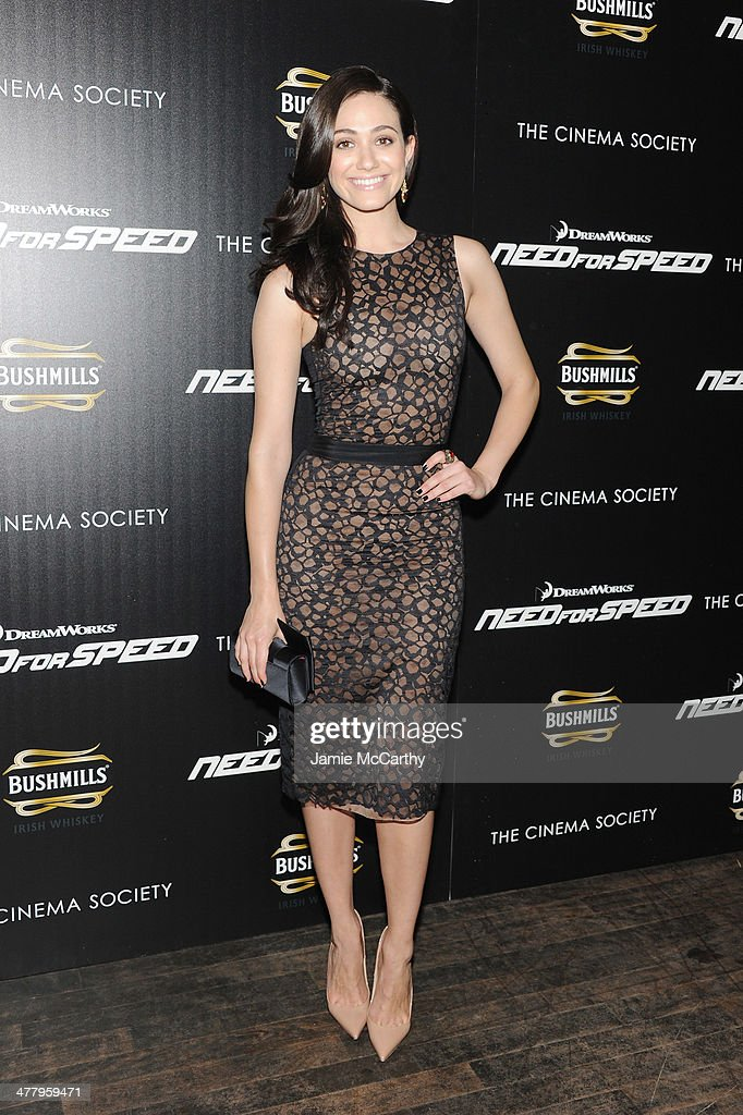 Actress <a gi-track='captionPersonalityLinkClicked' href=/galleries/search?phrase=Emmy+Rossum&family=editorial&specificpeople=202563 ng-click='$event.stopPropagation()'>Emmy Rossum</a> attends DreamWorks Pictures' 'Need For Speed' screening hosted by The Cinema Society and Bushmills on March 11, 2014 in New York City.