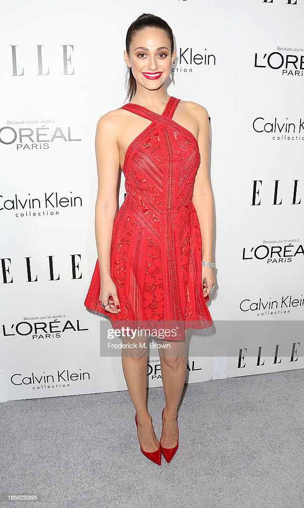 Actress <a gi-track='captionPersonalityLinkClicked' href=/galleries/search?phrase=Emmy+Rossum&family=editorial&specificpeople=202563 ng-click='$event.stopPropagation()'>Emmy Rossum</a> attends ELLE's 20th Annual Women in Hollywood Celebration at the Four Seasons Hotel Los Angeles at Beverly Hills on October 21, 2013 in Beverly Hills, California.