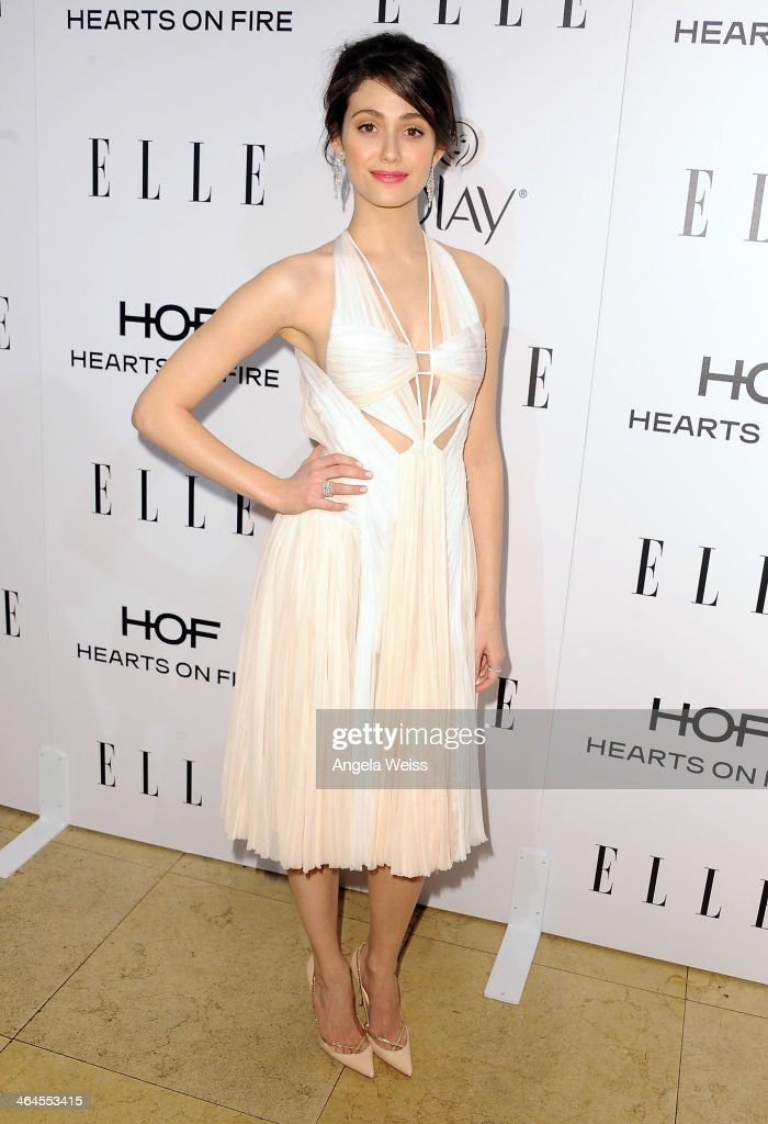 Actress <a gi-track='captionPersonalityLinkClicked' href=/galleries/search?phrase=Emmy+Rossum&family=editorial&specificpeople=202563 ng-click='$event.stopPropagation()'>Emmy Rossum</a> attends ELLE's Annual Women in Television Celebration at Sunset Tower on January 22, 2014 in West Hollywood, California.