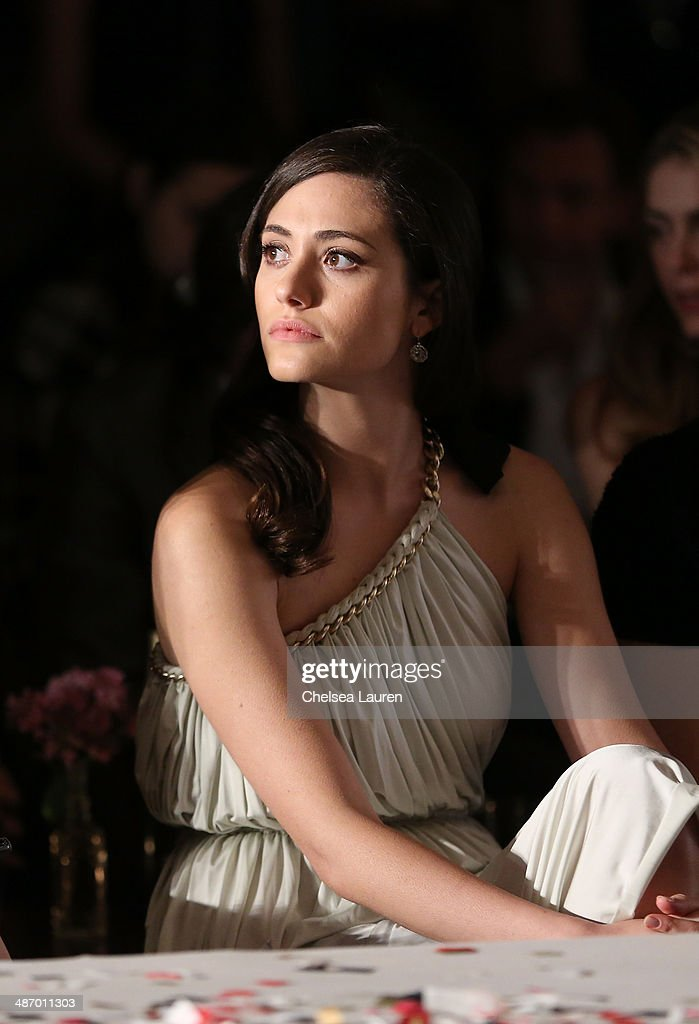 Actress <a gi-track='captionPersonalityLinkClicked' href=/galleries/search?phrase=Emmy+Rossum&family=editorial&specificpeople=202563 ng-click='$event.stopPropagation()'>Emmy Rossum</a> attends Lanvin And Living Beauty Host An Evening Of Fashion on April 26, 2014 in Beverly Hills, California.