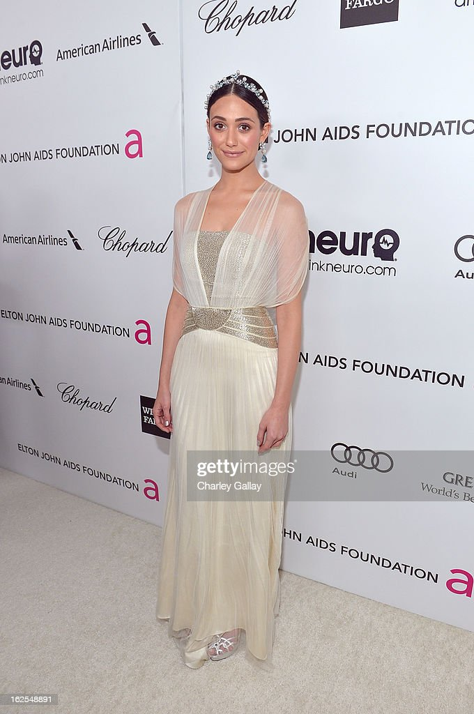 Actress <a gi-track='captionPersonalityLinkClicked' href=/galleries/search?phrase=Emmy+Rossum&family=editorial&specificpeople=202563 ng-click='$event.stopPropagation()'>Emmy Rossum</a> attends Neuro at 21st Annual Elton John AIDS Foundation Academy Awards Viewing Party at West Hollywood Park on February 24, 2013 in West Hollywood, California.
