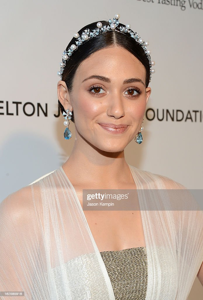 Actress Emmy Rossum attends the 21st Annual Elton John AIDS Foundation Academy Awards Viewing Party at West Hollywood Park on February 24, 2013 in West Hollywood, California.