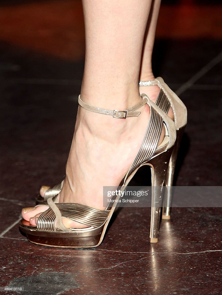 Actress <a gi-track='captionPersonalityLinkClicked' href=/galleries/search?phrase=Emmy+Rossum&family=editorial&specificpeople=202563 ng-click='$event.stopPropagation()'>Emmy Rossum</a> (shoe detail) attends the American Express And Uber Mobile Loyalty Program launch at Hudson Mercantile on June 10, 2014 in New York City.