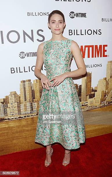 Actress Emmy Rossum attends the 'Billions' series premiere at Museum of Modern Art on January 7 2016 in New York City