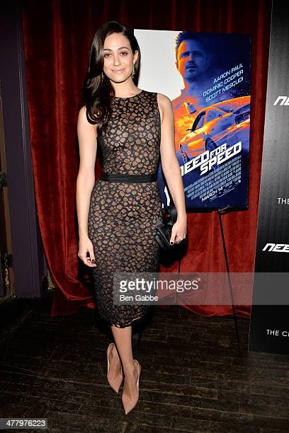 Actress Emmy Rossum attends The Cinema Society Bushmill's screening of DreamWorks Pictures' 'Need for Speed' at the Tribeca Grand Hotel on March 11...
