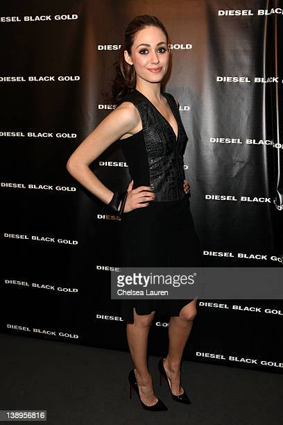 Actress Emmy Rossum attends the Diesel Black Gold Fall 2012 fashion show during MercedesBenz Fashion Week at Pier 57 on February 14 2012 in New York...