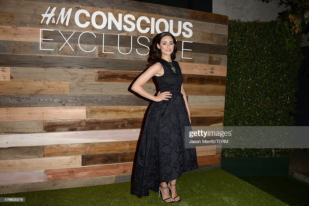 Actress <a gi-track='captionPersonalityLinkClicked' href=/galleries/search?phrase=Emmy+Rossum&family=editorial&specificpeople=202563 ng-click='$event.stopPropagation()'>Emmy Rossum</a> attends the H&M Conscious Collection dinner at Eveleigh on March 19, 2014 in West Hollywood, California.