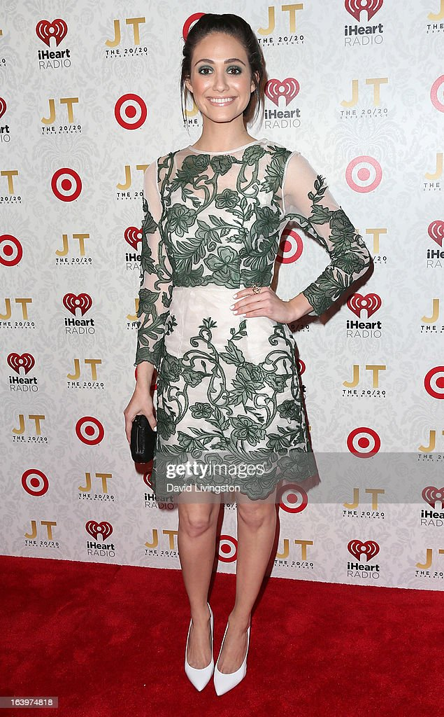 Actress Emmy Rossum attends the iHeartRadio '20/20' album release party with Justin Timberlake presented by Target at the El Rey Theatre on March 18, 2013 in Los Angeles, California.